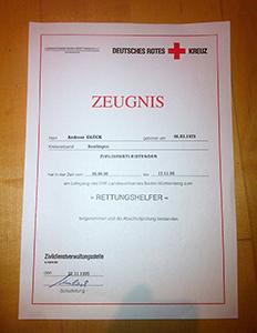 Rettungssanitäter zeugnis  Deutsches Rotes Kreuz | Kreisverband Reutlingen e.V. | Kein ...